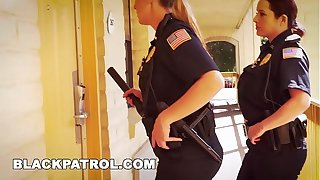 BLACK PATROL - White Cops With Big Tits Riding Big Black Load of shit Upstairs The Job