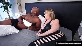 Curvy Hot Babes Angelina Castro & Sara Jay Bang Dastardly Cock!