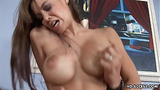 Busty bitch gets her drenched sloppy pussy plastered