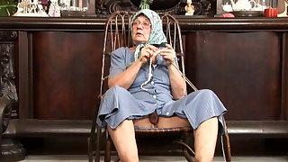 Ass eating knitting granny loves cum on her face