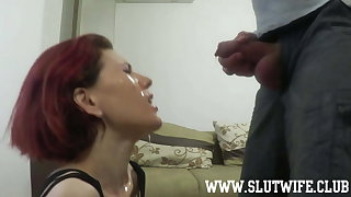 Redhead slut gets pissed over her face and then facefucked