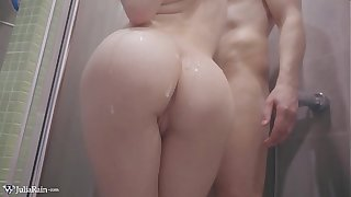 Babe Masturbate Pussy with the addition of Handjob Dick in the Bathroom