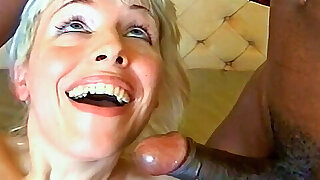 Blonde's first interracial threesome