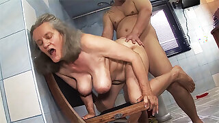 busty 83 year old mam gets rough going to bed