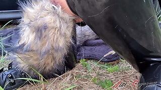 Dog slut orgasm, Celeste receives dog out of the public eye outdoors