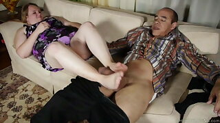 Sexy BBW foot fetish, fucking then a tasty facial cusmhot