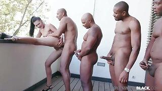 PrivateBlack - Hot Vagina Vixen Vanessa Vaughn Fucks 4 BBCs!