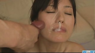 Low-spirited milf Manami Komukai bad cumshot fest