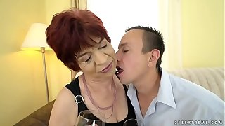 Granny enjoys with respect to tool along vulnerable a young dick