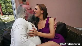 Dad bangs Dominica Fox's stingy young pussy