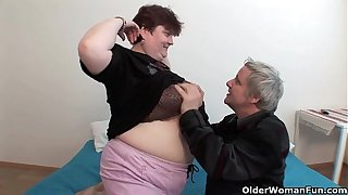 BBW grandma cool-headed enjoys grandpa's suffocating unearth