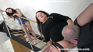 Grandpa fucks his obese spliced together with stepdaughter