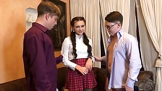 Modest schoolgirl seduced and fucked 2 schoolboy